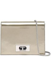 Giorgio Armani Woman Mirrored Leather Shoulder Bag Brass
