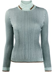 Marco De Vincenzo Rollneck Ribbed Knit Sweater Blue