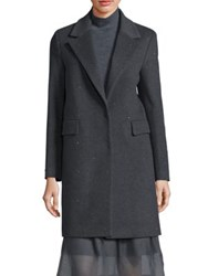 Peserico Virgin Wool And Cashmere Blend Long Sleeve Coat Charcoal