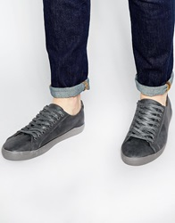New Look Lace Up Faux Leather Trainers Grey