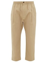 Studio Nicholson Gentile Cropped Cotton Blend Twill Trousers Beige