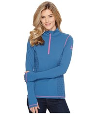 Cinch 1 2 Zip Pullover W Side Pan Teal Women's Clothing Blue