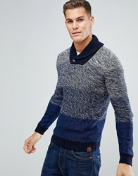 Tom Tailor Shawl Collar Jumper With Faded Knit 6800 Blue