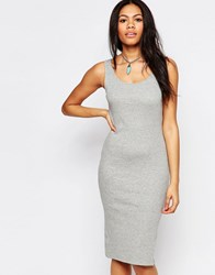 Brave Soul Ribbed Body Conscious Midi Dress Marl Gray
