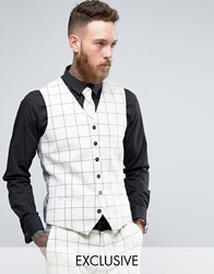 Heart And Dagger Skinny Waistcoat In Wool Tweed White