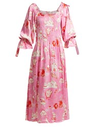 Shrimps Matteo Smocked Silk Satin Dress Pink
