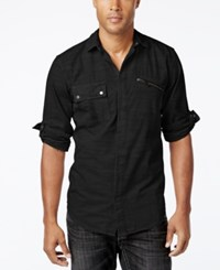 Inc International Concepts Men's Rango Roll Tab Long Sleeve Shirt Only At Macy's Deep Black
