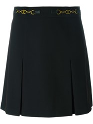 Tory Burch Inverted Pleat Mini Skirt Black