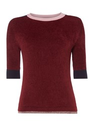 Max Mara Betta Knitted Tee With Boarder Crew Neck Bordeaux