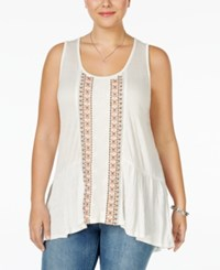 Eyeshadow Plus Size Sleeveless Embroidered Top Cream