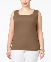 Karen Scott Plus Size Cotton Square Neck Tank Top Only At Macy's Brown Clay