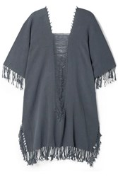Caravana Ak Kin Fringed Distressed Cotton Gauze Kaftan Blue