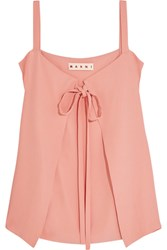 Marni Tie Front Crepe Top Pink