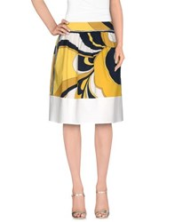 Blue Les Copains Skirts Knee Length Skirts Women Yellow