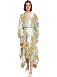 Lanvin Mulberry Flower Print Crepe Shirt Dress Multicolor