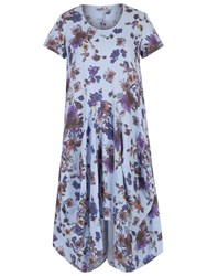 Chesca Floral Print Linen Dress Sky Blue Purple