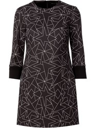 Neil Barrett Star Print Shift Dress Black