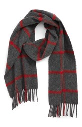 Barbour Bradford Tattersall Scarf Grey Red