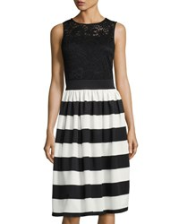 Neiman Marcus Lace Bodice Striped Fit And Flare Dress Black White