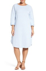 Caslonr Plus Size Women's Caslon Knit T Shirt Dress Blue White Terry Stripe