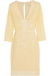 Halston Sequin Embellished Chiffon Mini Dress Yellow