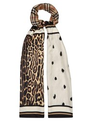 Burberry Animal And Vintage Check Silk Twill Scarf Beige Multi