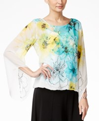 Alfani Petite Embellished Angel Sleeve Bubble Top Only At Macy's Floral Multi