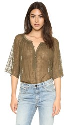Twelfth St. By Cynthia Vincent Raglan Silk Swing Top Army Green