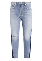 Citizens Of Humanity Leah Shadow Side Relaxed Fit Jeans Fade Light Blue Denim