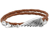 King Baby Studio Thin Braided Brown Leather Indian Motorcycle Headdress Logo Double Wrap Bracelet Brown Bracelet