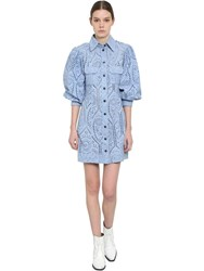 Ganni Puffed Sleeves Eyelet Lace Mini Dress Light Blue