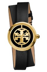 Tory Burch Women's 'Reva' Logo Dial Double Wrap Leather Strap Watch 28Mm