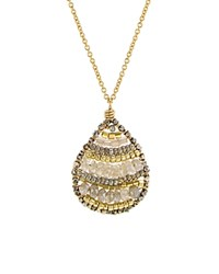Dana Kellin Beaded Teardrop Pendant Necklace 17 Multi Gold