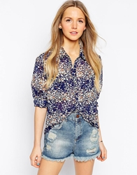Brave Soul Ditsy Floral Long Sleeve Shirt Navy