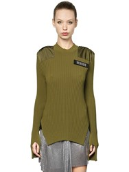 Versus Cotton Ribbed Knit Sweater W Slits