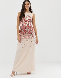 Chi Chi London Floral Embroidered Dress In Pink Multi