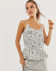 River Island Cami Top With Peplum Hem In Ditsy Floral Print Black