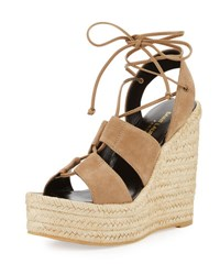 Saint Laurent Suede 95Mm Espadrille Wedge Sandal Taupe