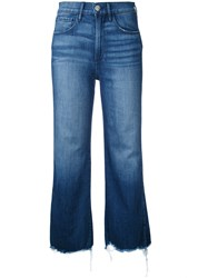 3X1 Cropped Flared Jeans Women Cotton Spandex Elastane 29 Blue