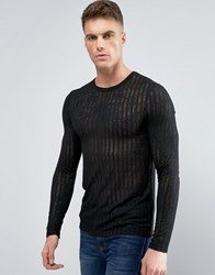 Asos Muscle Long Sleeve T Shirt With Sheer Stripe Black