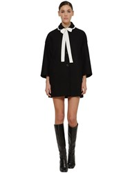 Red Valentino Contrasting Bow Wool Blend Coat Black