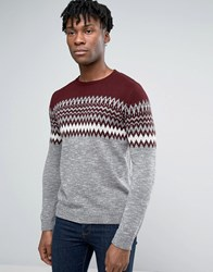 Pull And Bear Pullandbear Fair Isle Jumper In Grey Burgundy Grey