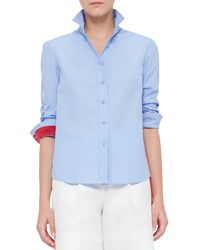 Akris Punto Colorblock Cotton Button Down Shirt Sky Blue Cherry Sky Blue Red Size 8