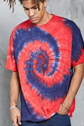 Forever 21 Spiral Tie Dye Tee Red Blue