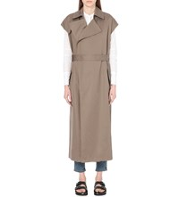 Helmut Lang Sleeveless Cotton And Linen Blend Trench Coat Army Green