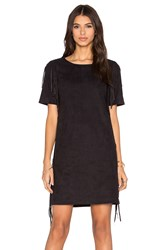 1. State Side Fringe Faux Suede Dress Black