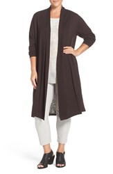 Eileen Fisher Plus Size Women's Washable Wool Crepe Kimono Duster Clove