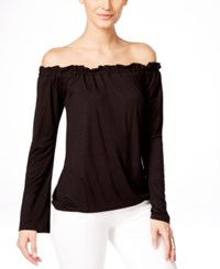 Inc International Concepts Petite Off The Shoulder Ruffled Peasant Blouse Only At Macy's Deep Black
