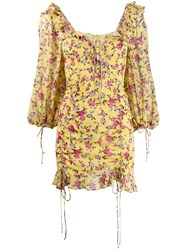 For Love And Lemons Floral Print Fitted Dress Yellow