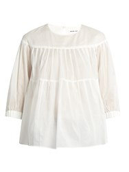 Muveil Tiered Pleated Cotton Top White